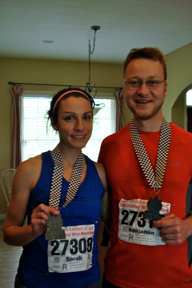 Sarah and Ben after the mini marathon.