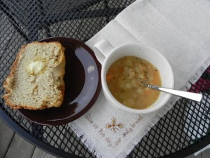 Potato soup and bread.