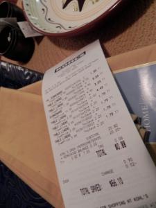 receipt from Kohl's
