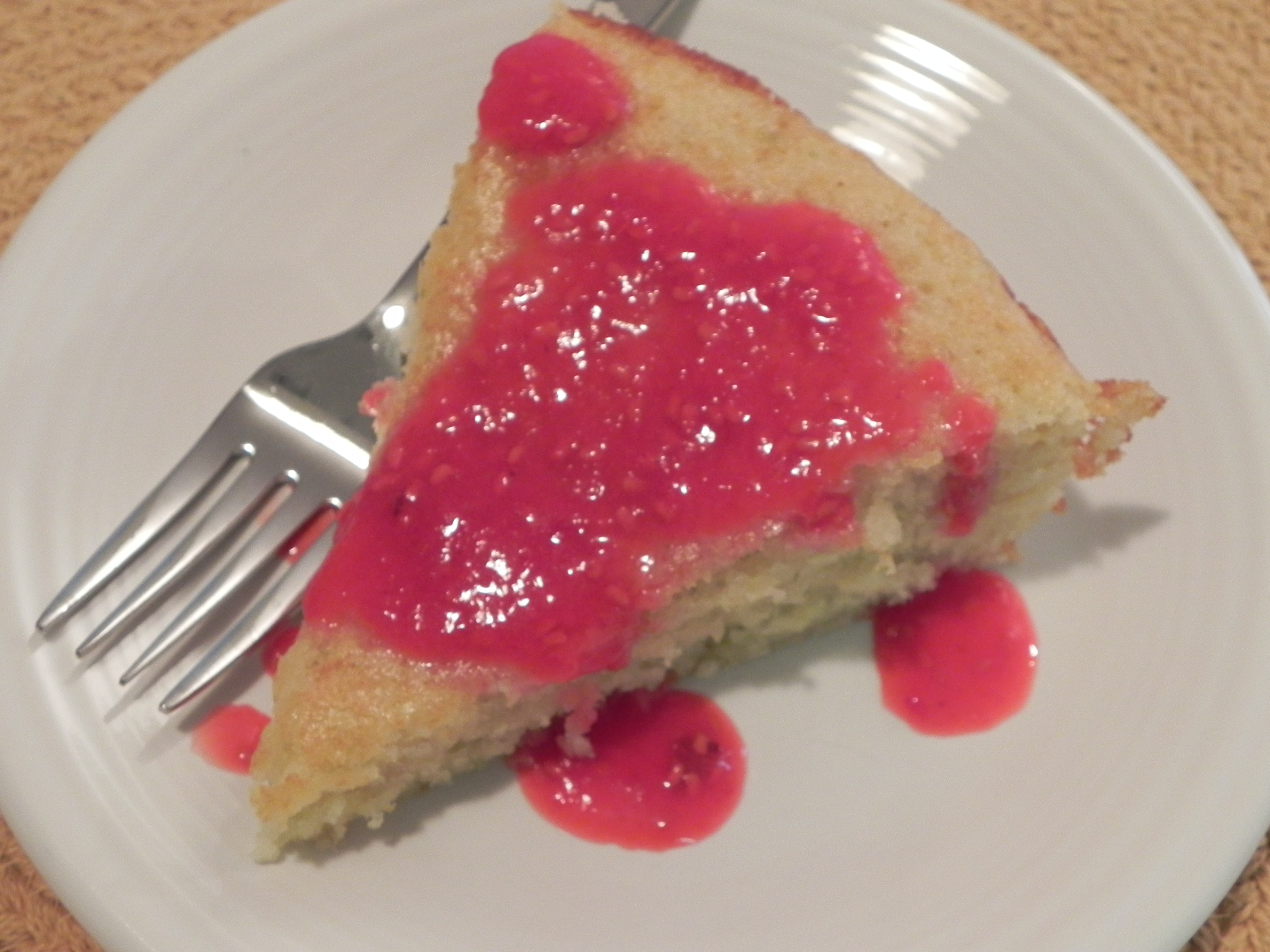 Lime Yogurt Cake with Raspberry Sauce | The Pajama Chef