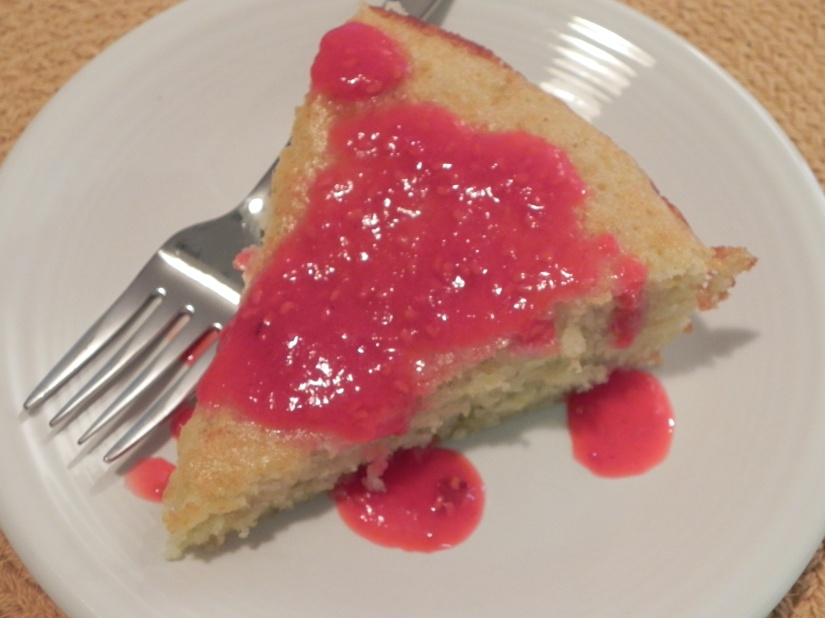 Lime Yogurt Cake with Raspberry Sauce