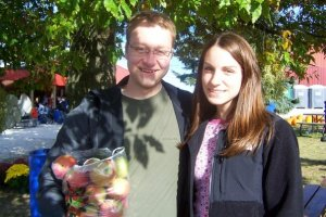 Sarah and Ben, apple picking.