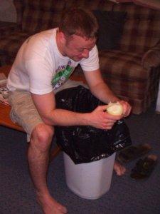 Ben eating an onion