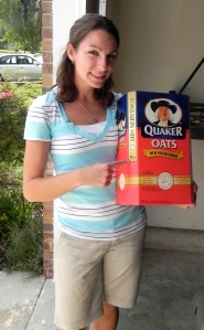 Sarah with 10 pounds of oatmeal.