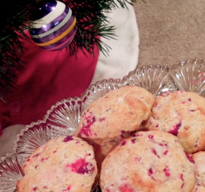 cranberry scones under the Christmas tree