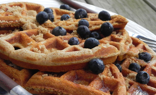 Spiced Waffles - an easy make-ahead #breakfast you can enjoy all week long with fresh fruit via thepajamachef.com