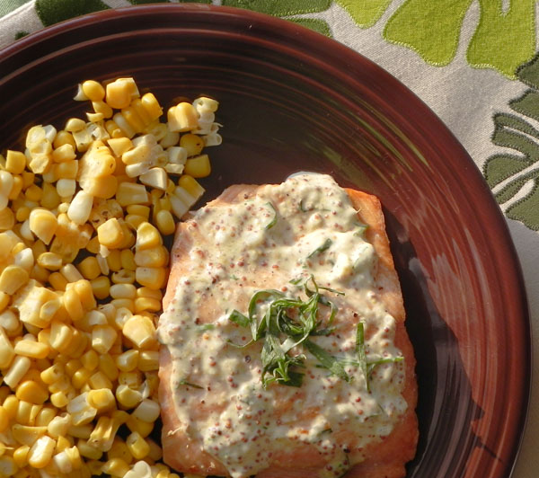 Salmon with Lemon, Tarragon, and Garlic Sauce via thepajamachef.com