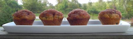 lined up pumpkin spice muffins on a balcony