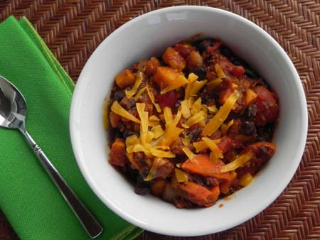 bowl of black bean & sweet potato chili