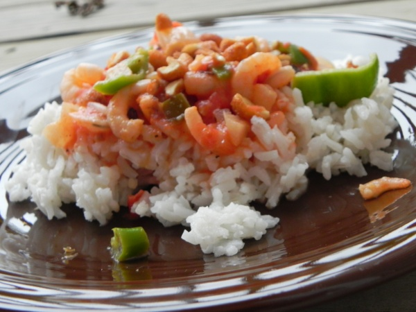 Thai Seared Shrimp with Tomato, Basil, and Coconut via thepajamachef.com