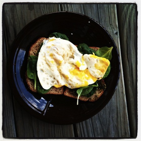 Fried Eggs on Pesto Parmesan Toast