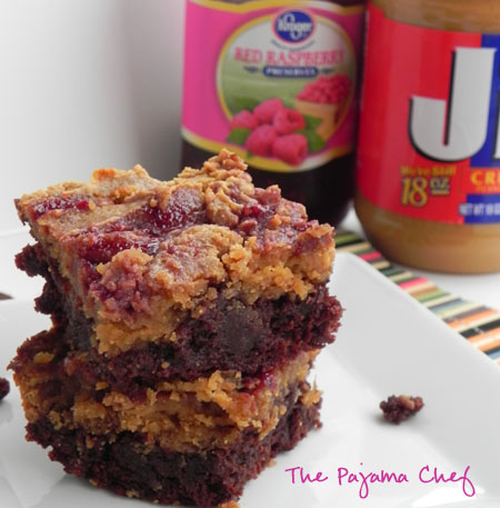 PB + J Brownies via thepajamachef.com