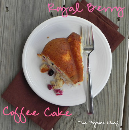 "slice of royal berry coffee cake on a plate with text reading ""royal berry coffee cake"" in the background"