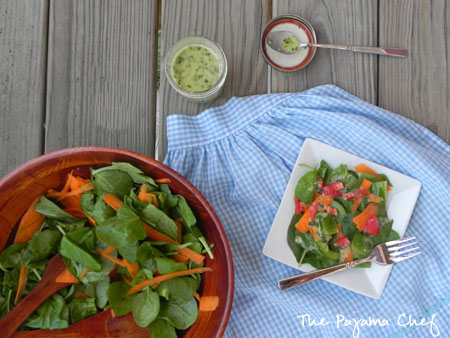 salad spread and cilantro-lime vinaigrette