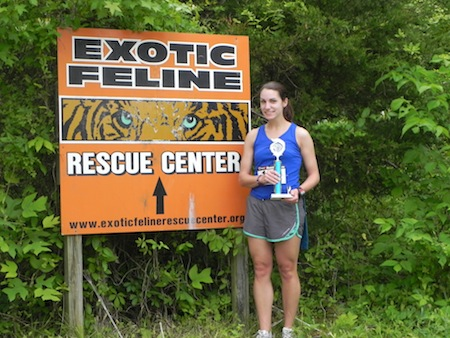 Sarah with her trophy after the 5K race.