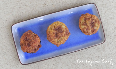 top of banana crumb muffins