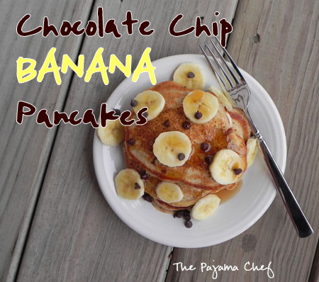 Light and Fluffy Chocolate Chip Banana Pancakes - one of my favorite pancake recipes of all time! via thepajamachef.com