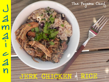 jamaican jerk chicken and pineapple black bean rice on a plate