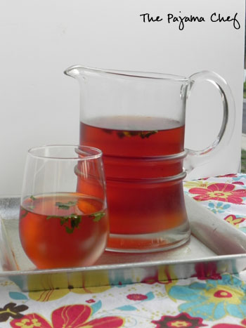 Iced Tea with Ginger-Mint Simple Syrup | thepajamachef.com