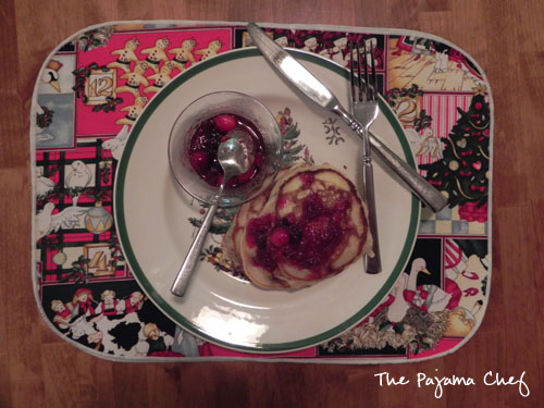 Cranberry Orange Pancakes with Cranberry Maple Syrup | The Pajama Chef