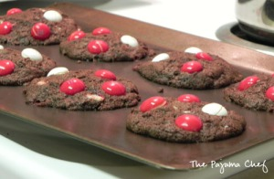 White Chocolate Peppermint M&M Cookies | The Pajama Chef
