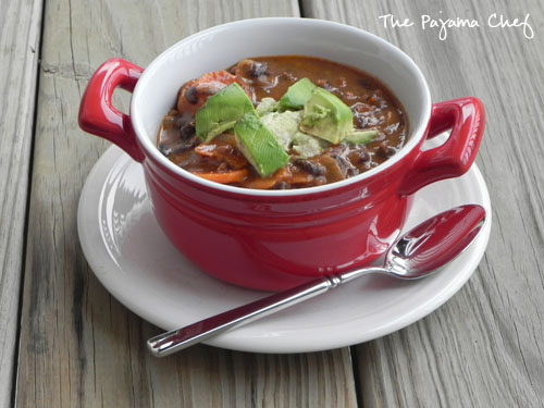Chipotle Black Bean Soup with Avocado Cream [adapted from Eats Well ...