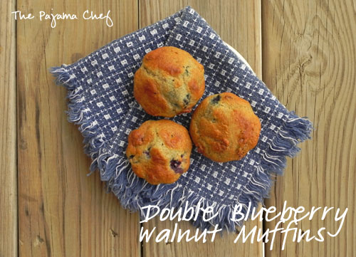 Double Blueberry Walnut Muffins | The Pajama Chef