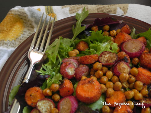 Roasted Chickpea, Carrot, & Radish Salad with Lemon-Dijon Dressing | The Pajama Chef