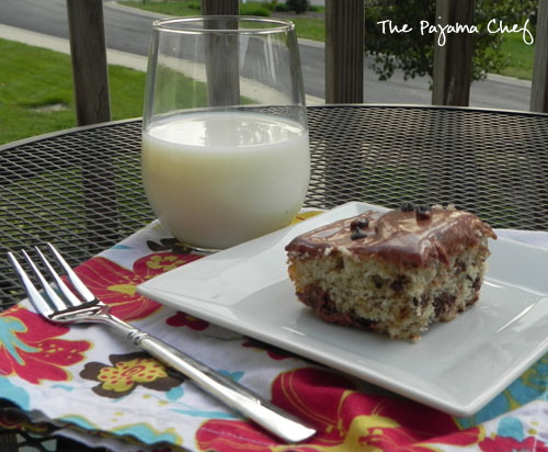 Banana Chocolate Chip Cake with Chocolate Cream Cheese Frosting | The Pajama Chef