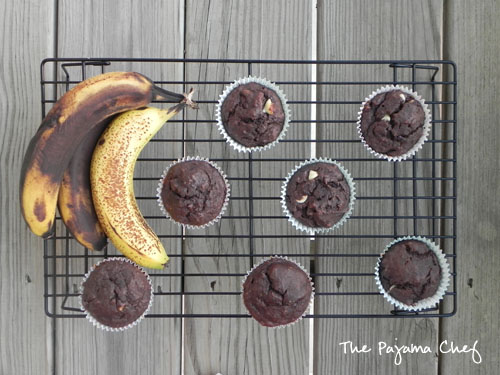 Double Chocolate Banana Muffins | thepajamachef.com