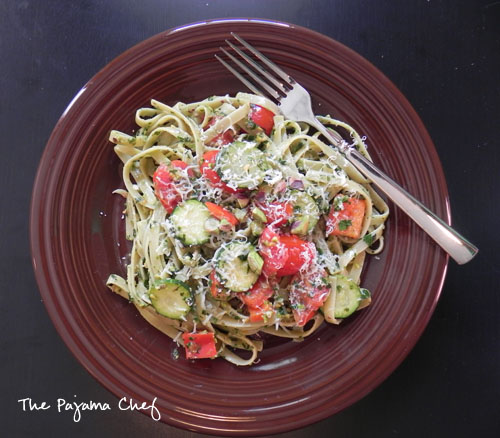 Fettuccine with Pistachio-Mint Pesto + Summer Vegetables | thepajamachef.com