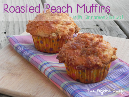 Roasted Peach Muffins | thepajamachef.com