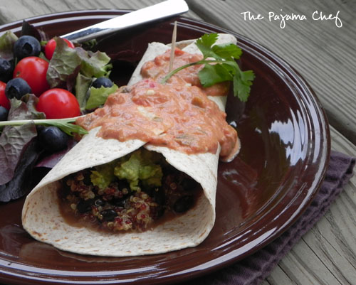 Quinoa Black Bean Burritos with Southwest Sauce | thepajamachef.com