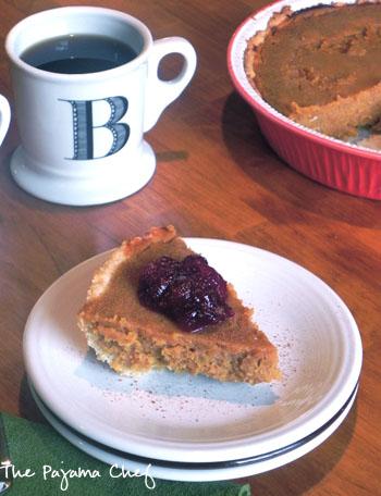 sweet potato pie with cranberry compote | thepajamachef.com