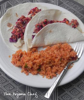 Baked Fish Tacos with Cranberry Salsa | thepajamachef.com