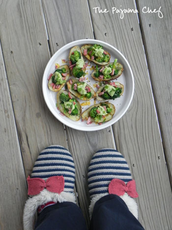 Broccoli Stuffed Loaded Potato Skins | thepajamachef.com