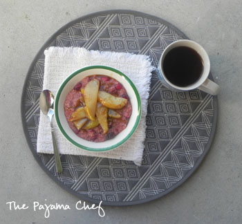 Cranberry Steel Cut Oats with Caramelized Pears | thepajamachef.com