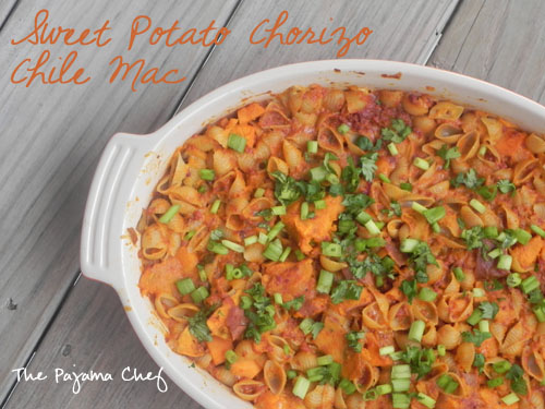 Sweet Potato Chorizo Chile Mac | thepajamachef.com
