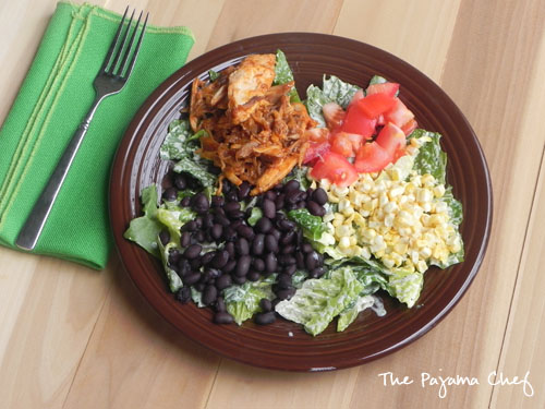 BBQ Chicken Salad with Jalapeno Basil Ranch Dressing | thepajamachef.com #mysterydish #salad #summer