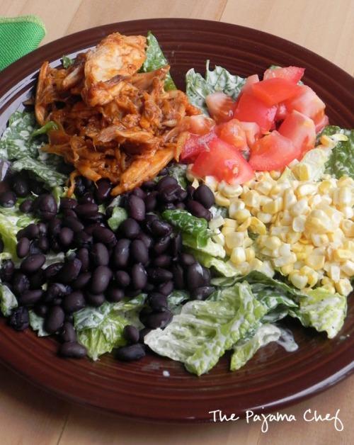 BBQ Chicken Salad with Jalapeno Basil Ranch Dressing | thepajamachef.com #mysterydish #salad #summer
