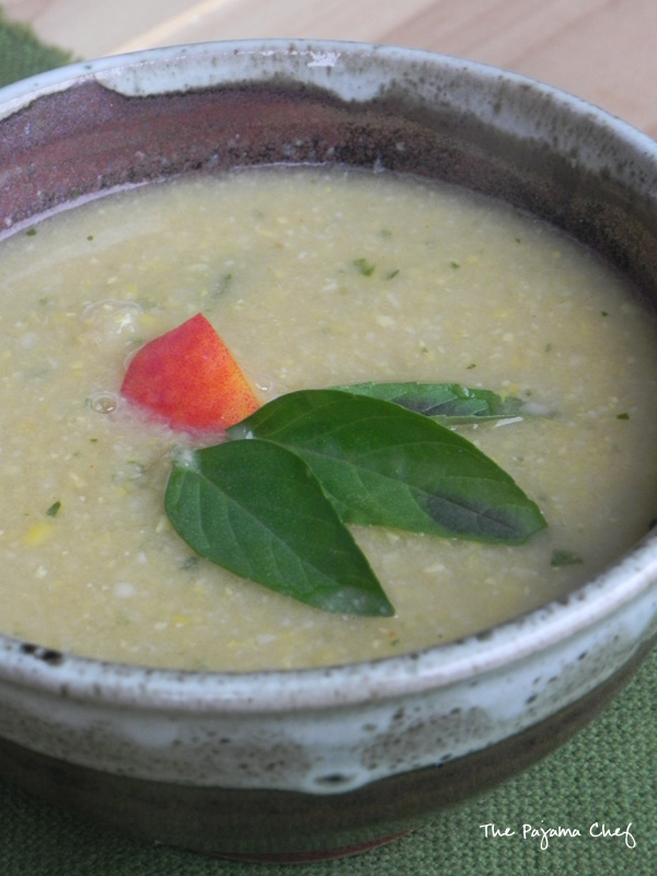 Sweet Corn Soup with Peaches | thepajamachef.com