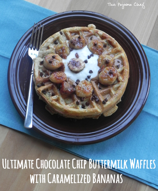 Ultimate Chocolate Chip Waffles with Caramelized Bananas | thepajamachef.com