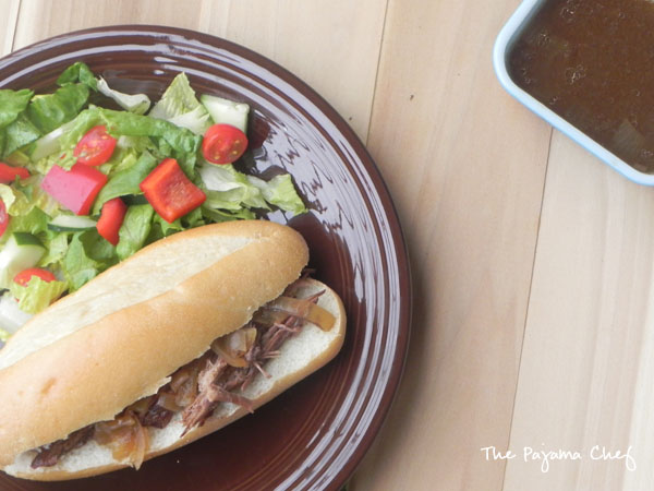 Easy Crockpot French Dip Sandwiches | thepajamachef.com