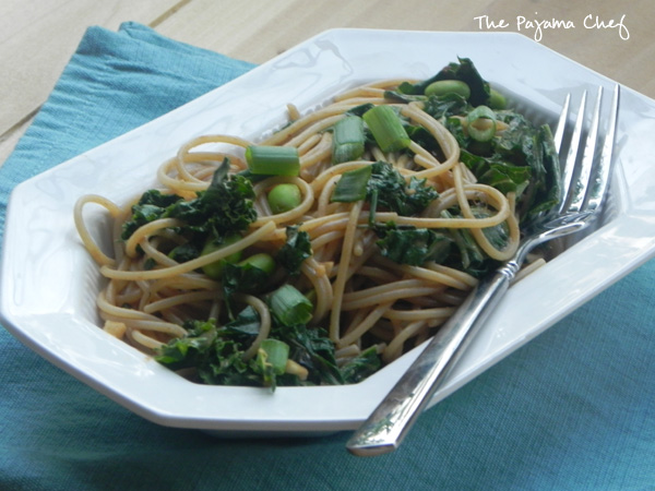 Spicy Peanut Noodles with Kale and Edamame | thepajamachef.com