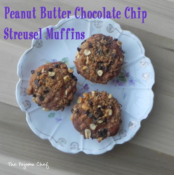 Peanut Butter Chocolate Chip Streusel Muffins   thepajamachef.com