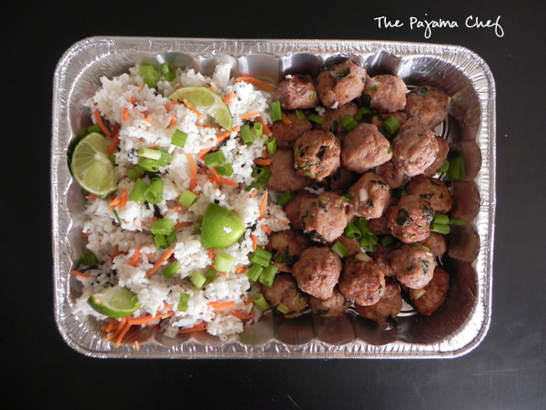 Asian Turkey Meatballs with Carrot Rice | The Pajama Chef