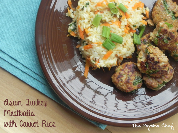 Asian Turkey Meatballs with Carrot Rice | thepajamachef.com