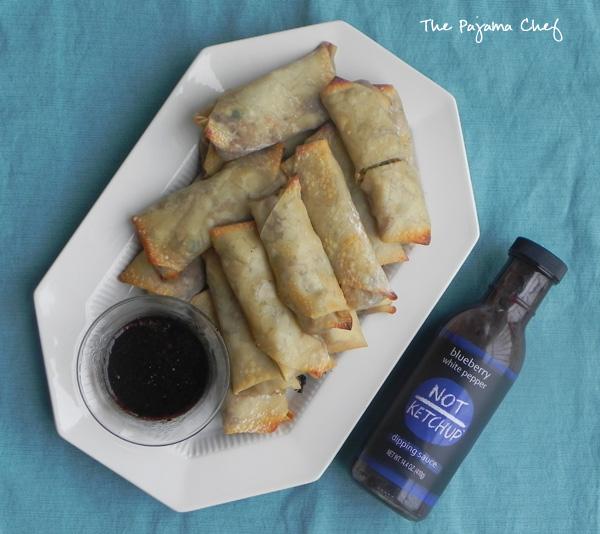Baked Blueberry Pork Egg Rolls | thepajamachef.com #10DaysofTailgate