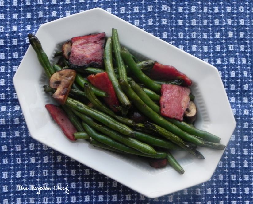 Grilled Green Beans, Mushrooms, and Duck Bacon | thepajamachef.com #10DaysofTailgate