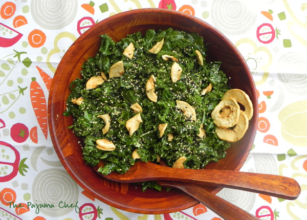 Kale Salad with Sesame-Lime Dressing | thepajamachef.com #MysteryDish